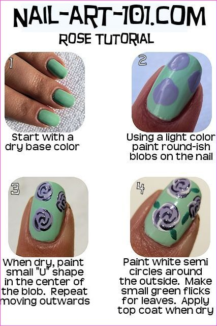 Rose Nail Art chart | uñas | Pinterest