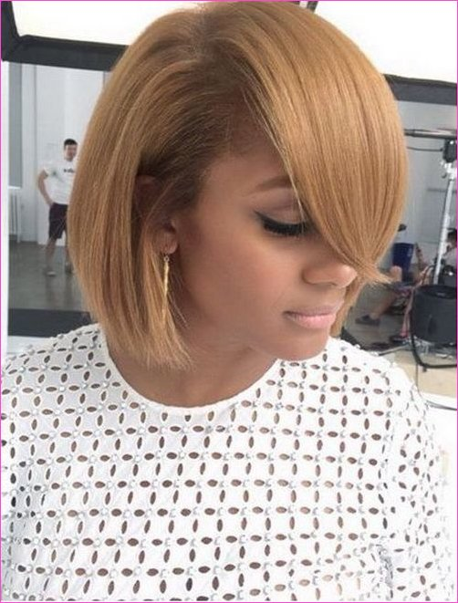 2017 Short Bob Hairstyles for Black Women Long Side Bangs | Buns and ...