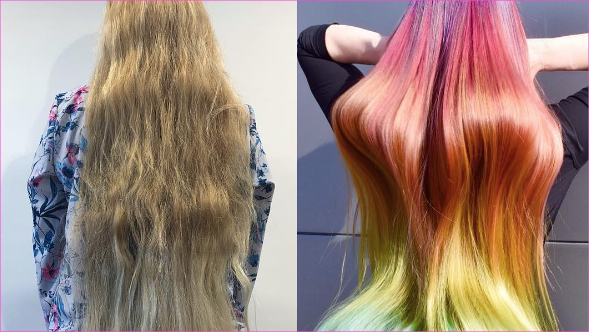 This Mile-Long Hair Got a Rainbow Dye Job in Just Four Hours