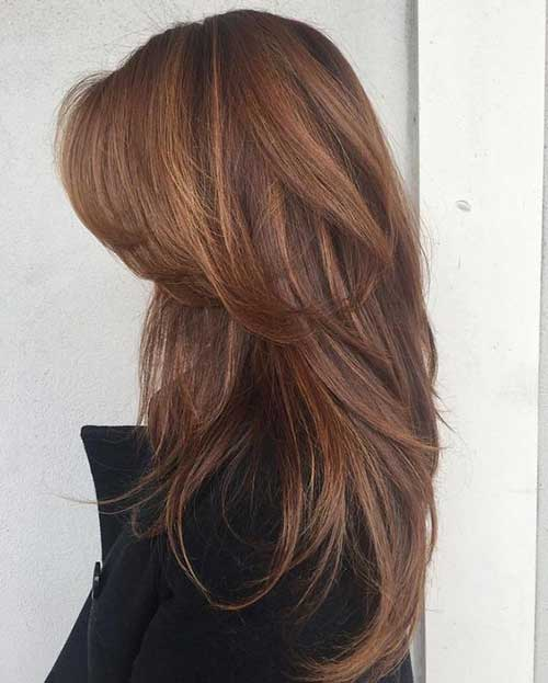 6. Layered Cinnamon Colored Hair