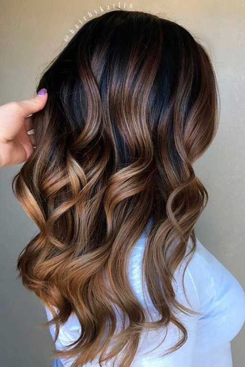 7. Ombre Langes gewelltes Wolle